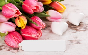 Picture flowers, bouquet, tulips, love, wood, romantic, hearts, tulips, spring