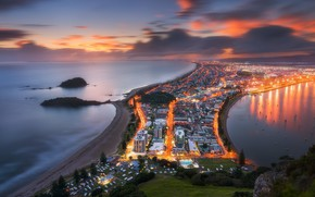 Picture sunset, lights, New Zealand, New Zealand, Tauranga
