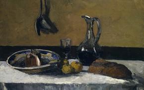 Picture table, glass, picture, bread, pitcher, Still life, Camille Pissarro