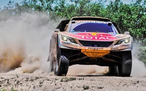 Picture Sand, Dust, Sport, Speed, Race, Peugeot, Lights, Red Bull, Rally, Dakar, Dakar, Rally, Sport, The …