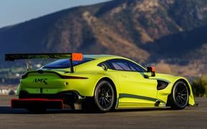 Wallpaper Aston Martin, Vantage, racing car, rear view, 2018, GTE