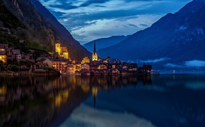 Picture mountains, the city, lights, lake, the evening, Austria, Hallstatt