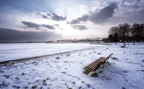 Picture snow, shore, bench