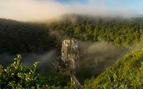 Wallpaper fog, Germany, Eltz Castle, wooded hills