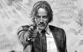Wallpaper cinema, gun, pistol, weapon, man, movie, film, Keanu Reeves, suit, powerful, strong, tie, John Wick, ...