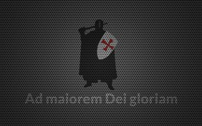 Wallpaper red, latin, metal, cross, motto, knight Templar, AdmaioremDeigloriam, textures, knight, shield, Crusader