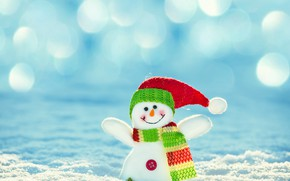 Picture snow, smile, toy, snowman, scarf