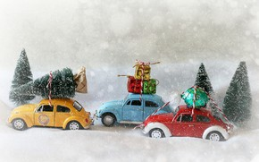 Wallpaper Christmas, New year, Christmas trees, candy, toys, snow, cars, gifts, models