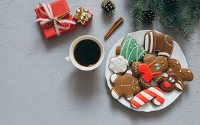 Picture Coffee, New year, Holiday, Gift, Cookies, Treat