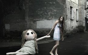 Wallpaper the city, barefoot, nightie, doll, girl, sleep