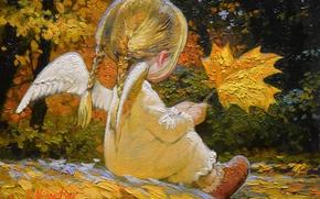 Wallpaper autumn, back, braids, wings, maple leaves, angel, little girl, Victor Nizovtsev
