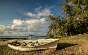 Picture shore, boat, island, The Indian ocean, Mauritius