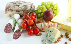 Picture cheese, bread, grapes, pear, nuts, tomato, sausage, bacon, melon, products