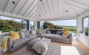 Wallpaper house, interior, living room, Coastal Home