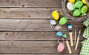 Picture Easter, brush, spring, Easter, eggs, Happy, pastel, the painted eggs