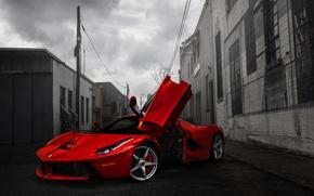 Picture Red, Ferrari, Ferrari, Red, Supercar, Lane, LaFerrari