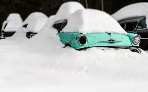 Wallpaper winter, snow, machine