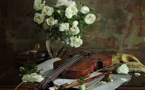 Picture violin, watch, books, roses, bow, paper