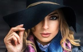 Picture look, face, portrait, hat, makeup, hairstyle, blonde, beauty, Dasha, bokeh, closeup, Dmitry Belyaev