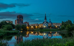Picture the sky, grass, trees, lights, pond, home, the evening, Saint Petersburg, Church, Russia, Pulkovo