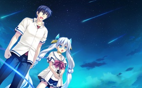 Picture girl, anime, art, guy, two, Ryuusei Kiseki -Shooting Probe