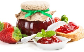 Picture strawberry, jam, bread, Bank, strawberry, berries