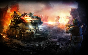 Picture Fire, War, The explosion, Ruins, Soldiers, Weapons, Total Domination, Mole, Plarium, The rules of war, …