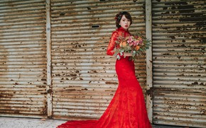Picture bouquet, dress, Oriental girl