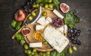 Picture leaves, cheese, grapes, peaches, grapes, jam, cheese, common fig