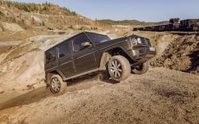 Picture earth, Mercedes-Benz, dust, relief, scrap, 2018, G-Class, quarry