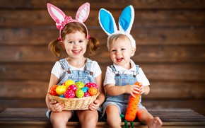 Picture children, holiday, eggs, Bunny