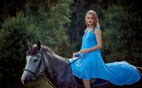 Wallpaper dress, horse, forest, girl, beautiful, makeup, bokeh, hairstyle, trees, walk, brown hair, blue, nature, rider