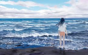 Picture sea, the sky, girl, Atsushi2988