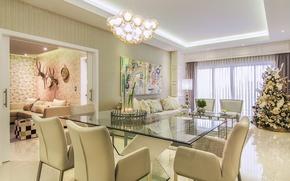 Wallpaper design, decor, Studio, apartment, tree, chairs