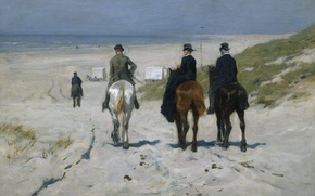 Picture oil, picture, riders, canvas, Anton Mauve, Morning Ride on the Beach