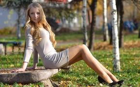 Picture look, girl, nature, Park, girls, sweetheart, stone, dress, blonde, shoes, heels, birch, legs, beautiful, sweet, …