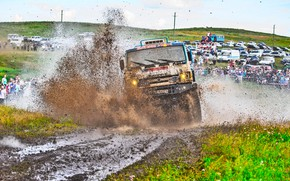 Picture Grass, Sport, Speed, People, Race, Master, Dirt, Machine, Squirt, Lights, Russia, Kamaz, Rally, Rally, KAMAZ, …