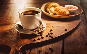 Picture Coffee, Coffee beans, Croissant