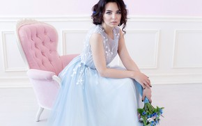 Picture decoration, flowers, pose, bouquet, makeup, dress, brunette, hairstyle, outfit, beautiful, sitting, in the chair