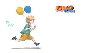 Picture balloons, shorts, boy, white background, Naruto, runs, Naruto Uzumaki