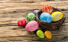 Wallpaper colorful, wood, Easter, Easter, happy, basket, the painted eggs, spring, holiday, eggs
