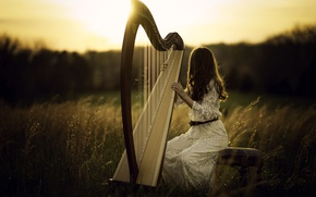 Wallpaper girl, harp, light
