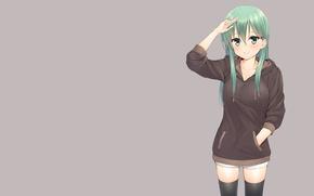 Picture kawaii, girl, green eyes, anime, pretty, asian, japanese, oriental, green hair, bishojo