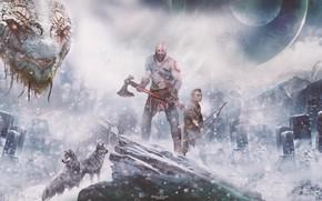 Wallpaper Wars, Action, Red, Fantasy, Wolves, Dragon, Blizzard, Sony, Gods, Winter, Kratos, Playstation, God of War, ...