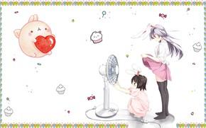 Picture summer, the wind, heat, anime, fan, art, girl, Lollipop, cake, Bunny, heart, baby, ears, ponytail, …