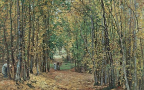 Picture trees, landscape, nature, picture, Camille Pissarro, Forest at Marly