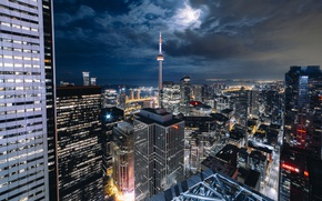 Picture light, night, the city, lights, the moon, Canada, Toronto