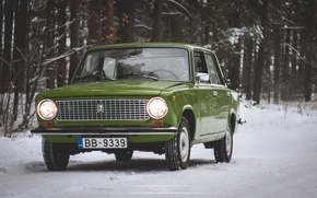 Wallpaper winter, Lada, 2101, Penny, green