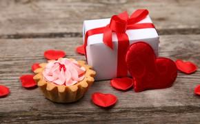 Wallpaper wood, heart, basket, love, cake, cream, romantic, gift, love, hearts, Valentine's Day, heart, gift