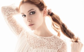 Picture look, hair, makeup, white background, red, redhead